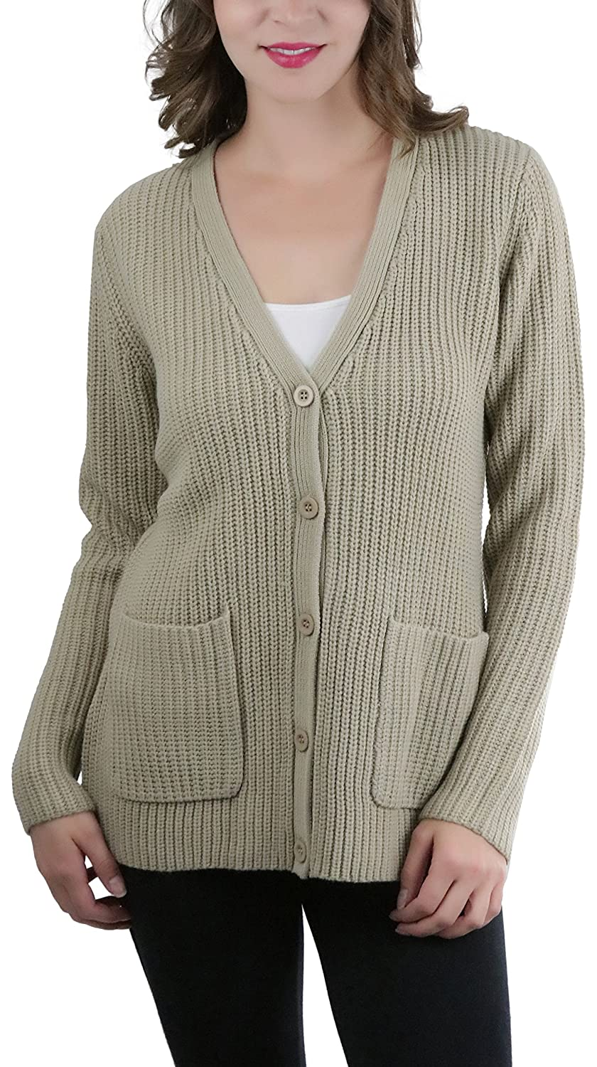 Sand ToBeInStyle Women's Knitted Acrylic Button Up Cardigan Sweater