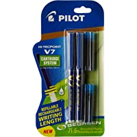 Pilot V7 Hi-tecpoint Roller ball pen with Cartridge System - 2 Blue Pens, 4 cartridges