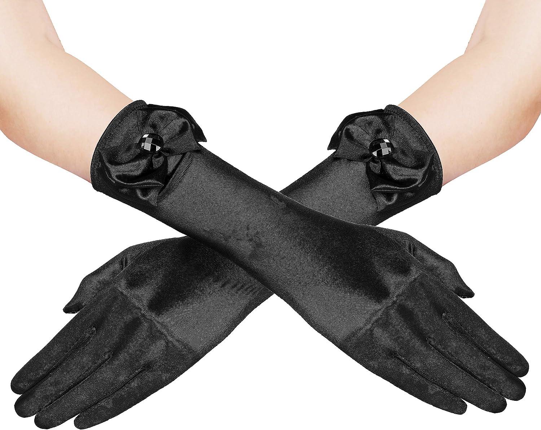 Satin Bow Pearl Long Gloves Elbow Length Princess Costume Dress Baby Girl Kid MF