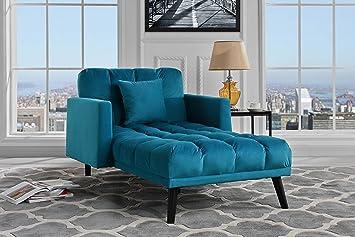 Sofamania Modern Velvet Fabric Recliner Sleeper Chaise Lounge - Futon Sleeper Single Seater with Nailhead Trim (Blue)