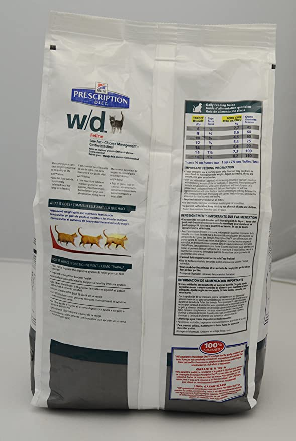 Amazon.com : Hills Diet w/d Feline Low Fat-Gastrointestinal Health Cat Food 4lb Bag : Dry Pet Food : Pet Supplies