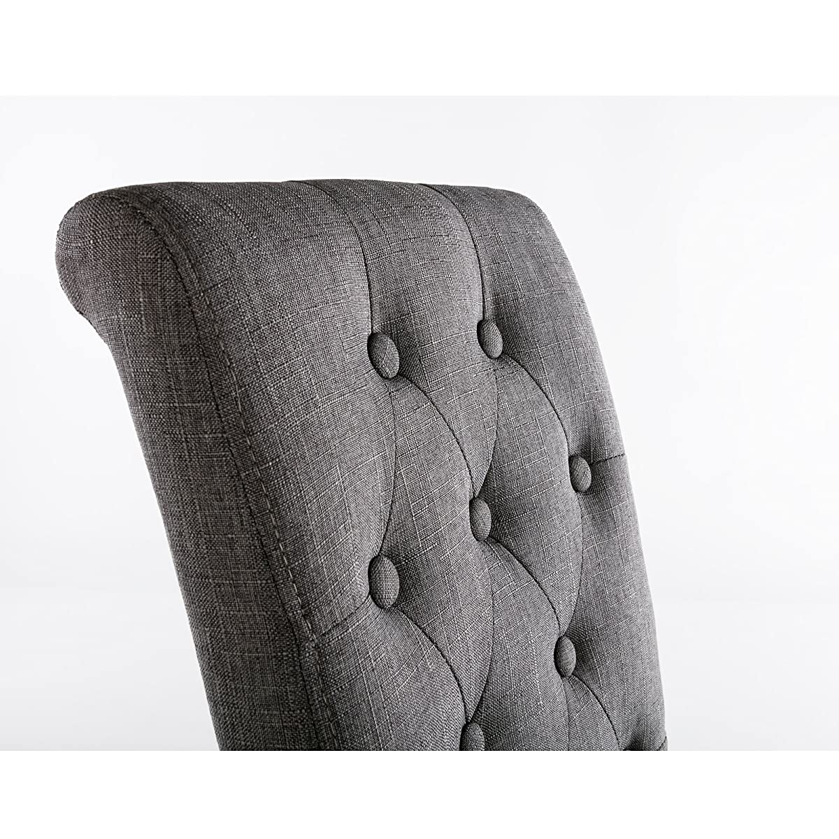 LSSBOUGHT Button-tufted Upholstered Fabric Dining Chairs with Solid Wood Legs, Set of 2 (Gray)
