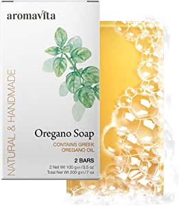 Aromavita Oregano Oil Soap - Natural Plant Therapy Hand Soap or Body Wash - Topical Therapeutic Skin Cleanser for Acne, Eczema, Foot and Nail Problems, 2 pack