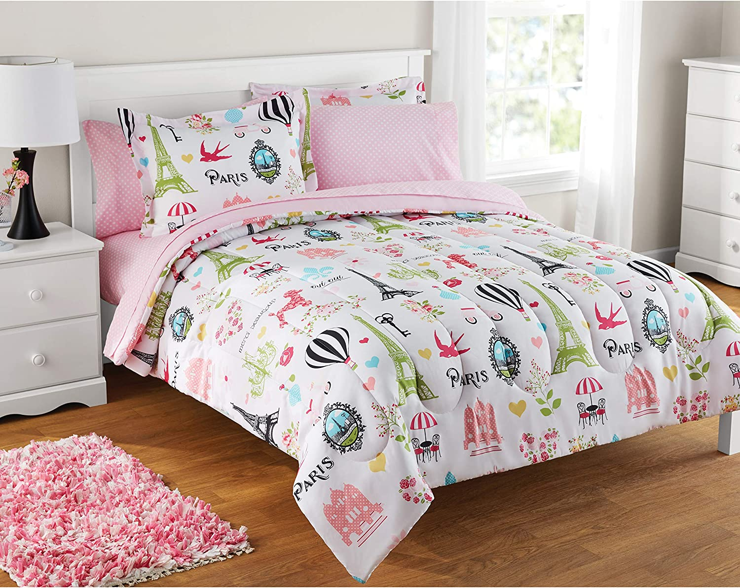 Mainstays Kids Red Plaid Bed in a Bag Complete Bedding Set 7 PC FULL NEW