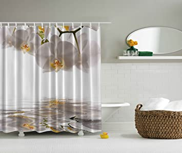 Artsy Shower Curtain Flower By Ambesonne White Orchid Reflection On Pond Lake House Decor Water