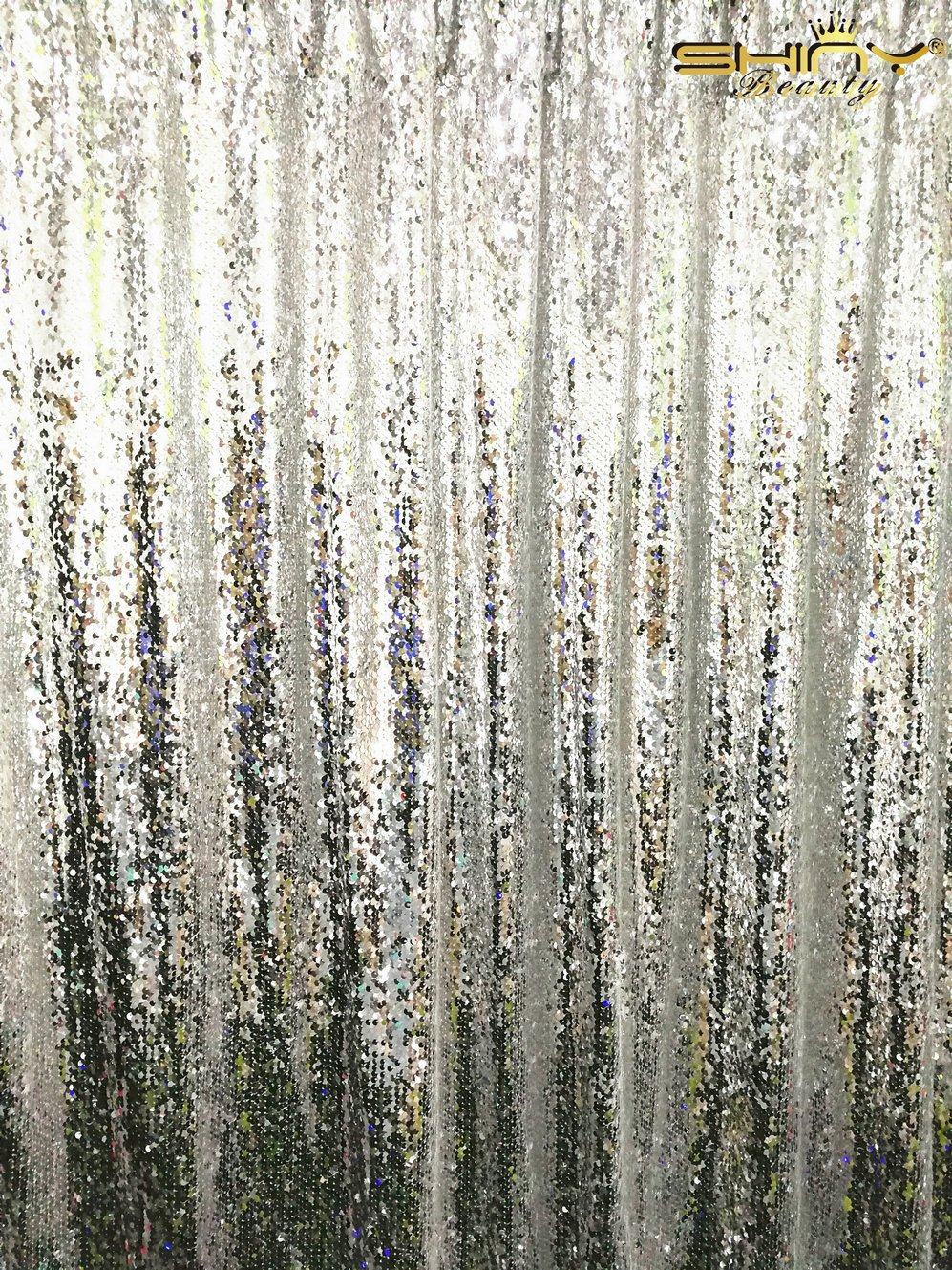 ShinyBeauty Mermaid-Sequin Curtain Backdrop-Silver-10FTx8FT,Sparkyly Sequin Fabric Curtain Backdrop,Perfect for Party/Wedding/Event/Prom/Birthday by ShinyBeauty