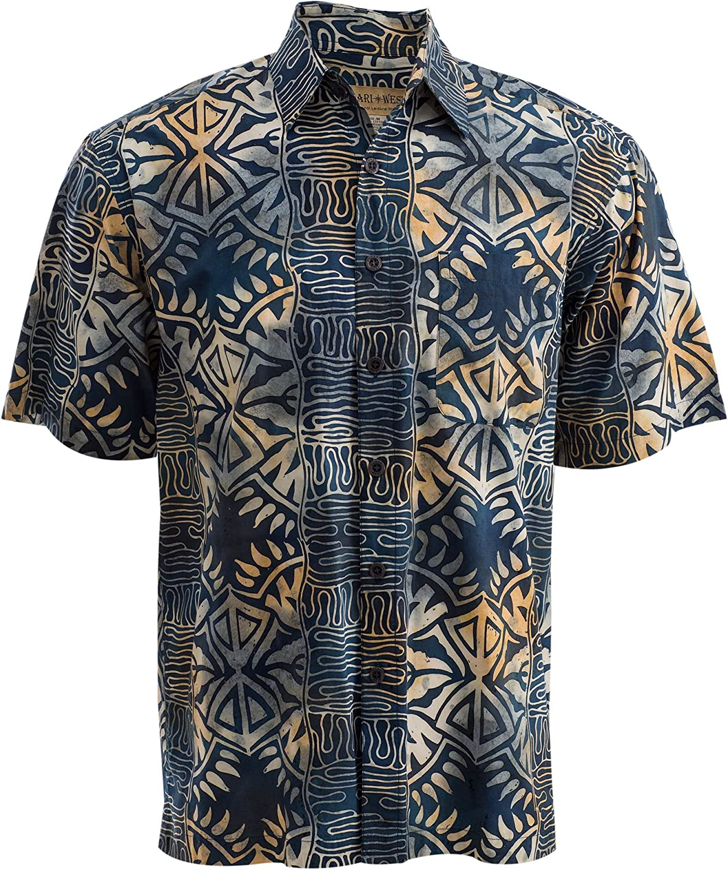 Johari West Geometric Evening Tropical Hawaiian Batik Cotton Shirt