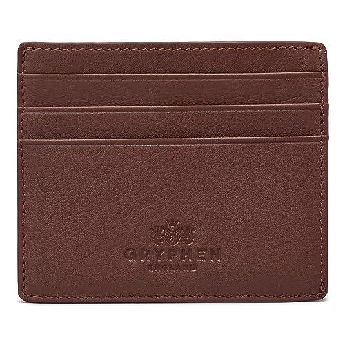2690fb48fd Gryphen, Hoxton, portafogli sottile, in pelle, per carte di credito, Marrone
