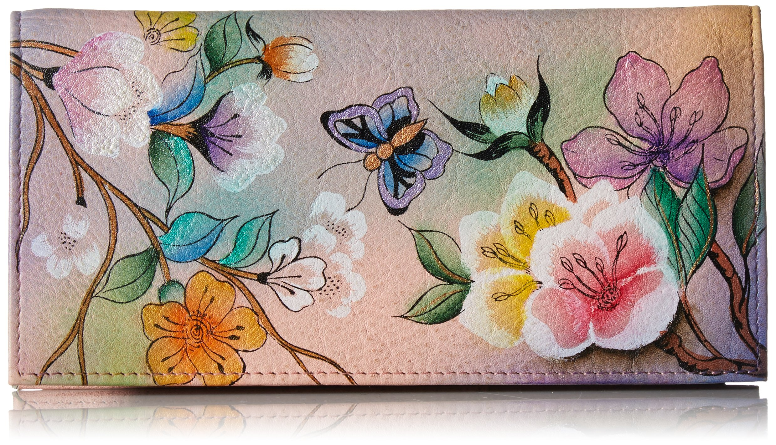 Anuschka Women's Genuine Leather Checkbook Cover | Hand Painted Original Artwork | Japanese Garden