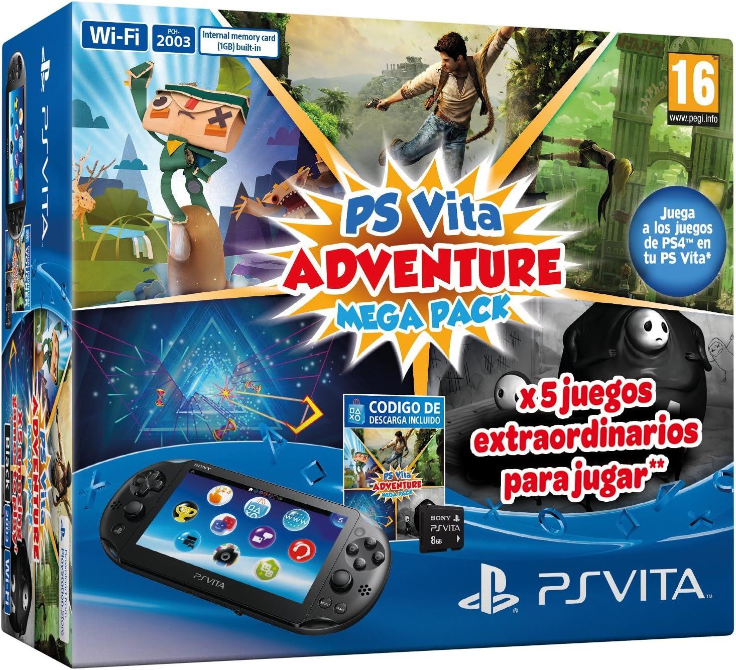 PlayStation Vita - Consola + Mega Pack Adventure + MC 8 Gb: Amazon ...
