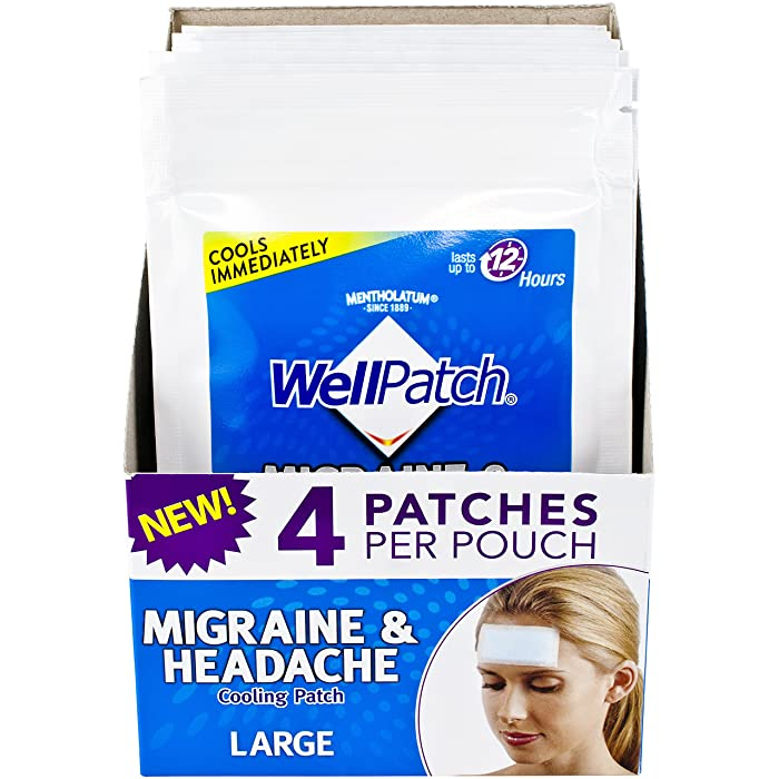 WellPatch Migraine & Headache Cooling Patch - Drug Free, Lasts Up to 12 Hours, Safe to Use with Medication - Large Patches (4 Packs of 4 Patches), Each 4.3 x 2 in