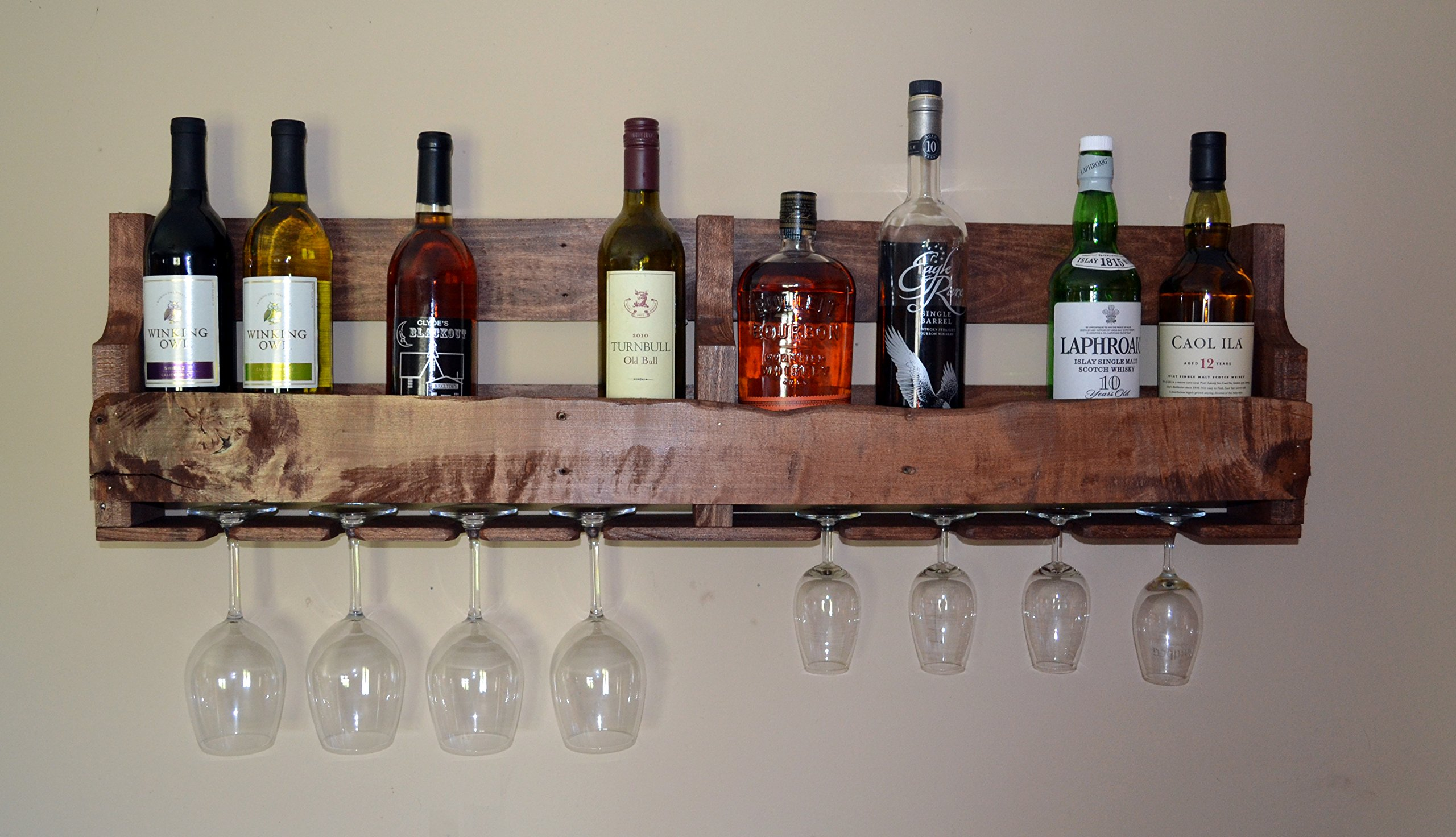 Turnbull FarmsTM Upcycled Wooden Wine Rack with Glass Holders (40'', English Chestnut) - Multiple Sizes/Colors