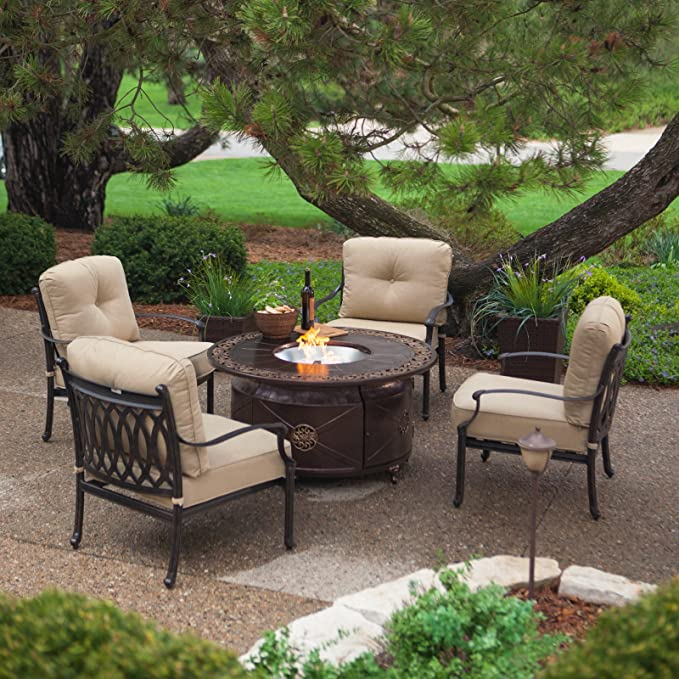 Red Ember Richland 48 In Round Propane Fire Pit Table With Decorative Scroll Amazon Ca Patio Lawn Garden