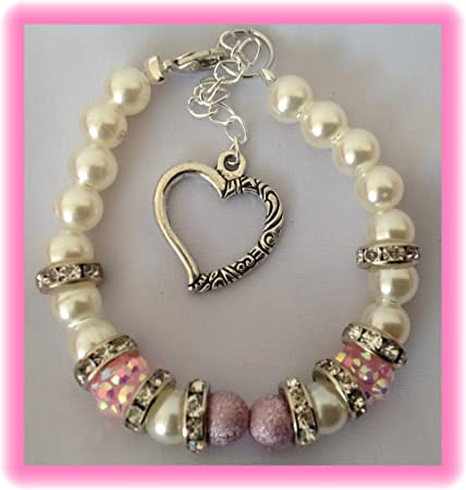 35a74d78d GIRLS PERSONALISED WHITE PEARL HELLO KITTY CHARM FRIENDSHIP BRACELET WITH  HEART CHARM FLOWER GIRL GIFT WITH