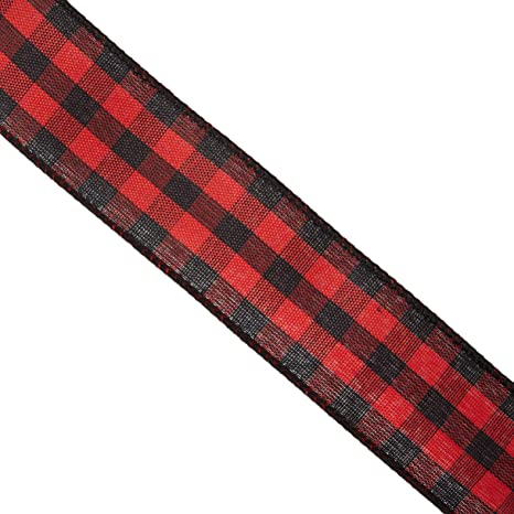 10-Yard 4-Inch Buffalo Plaid Twill Wired Christmas Ribbon