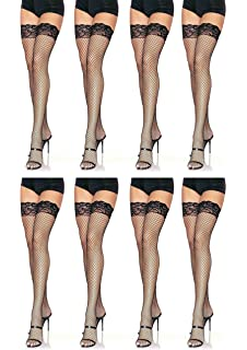 76f7f43916f6ef Leg Avenue Women's Fishnet Thigh High Stockings with Silicone Lace Top,  Black, 8-