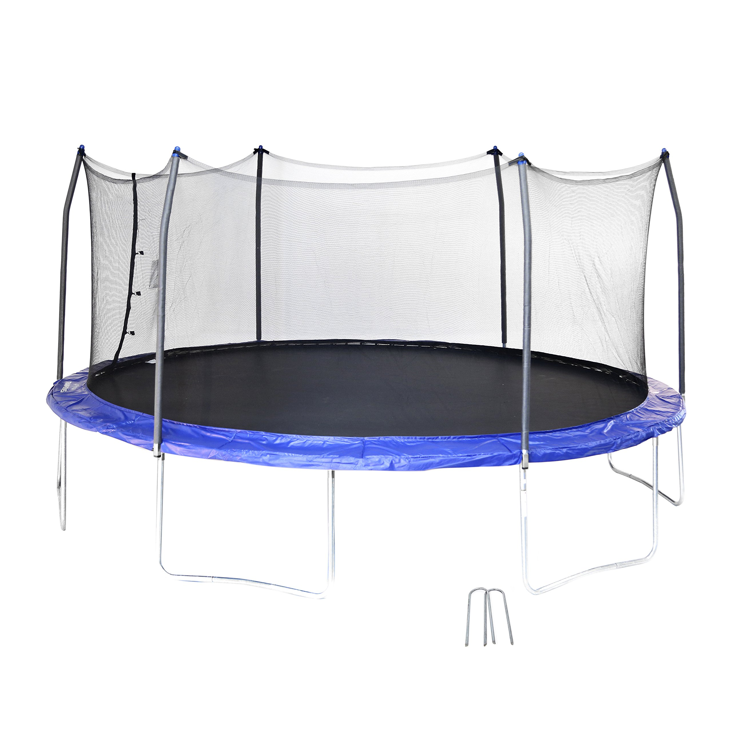 Skywalker SWTC17BWS Oval Trampoline and Enclosure with Wind Stakes (17-Feet) by Skywalker