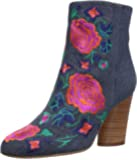 The Fix Women's Nash Floral Embroidery Oval Heel Ankle Bootie