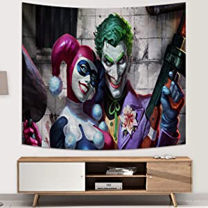 Harley Quinn Joker Tapestry DC Tapestry Wall Hanging for Bedroom Dorm Wall Decoration Birthday Gifts 60x70in