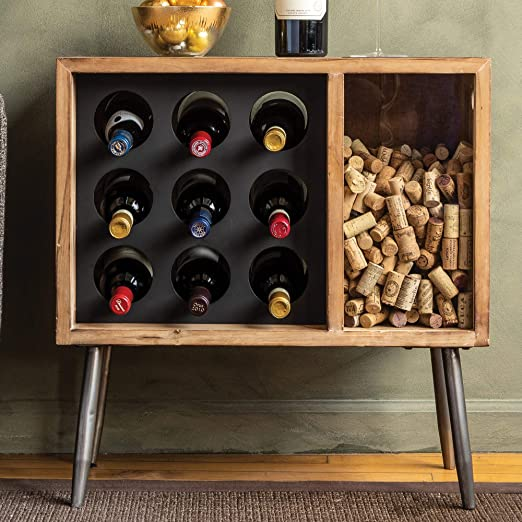 cork catcher side table with wine rack