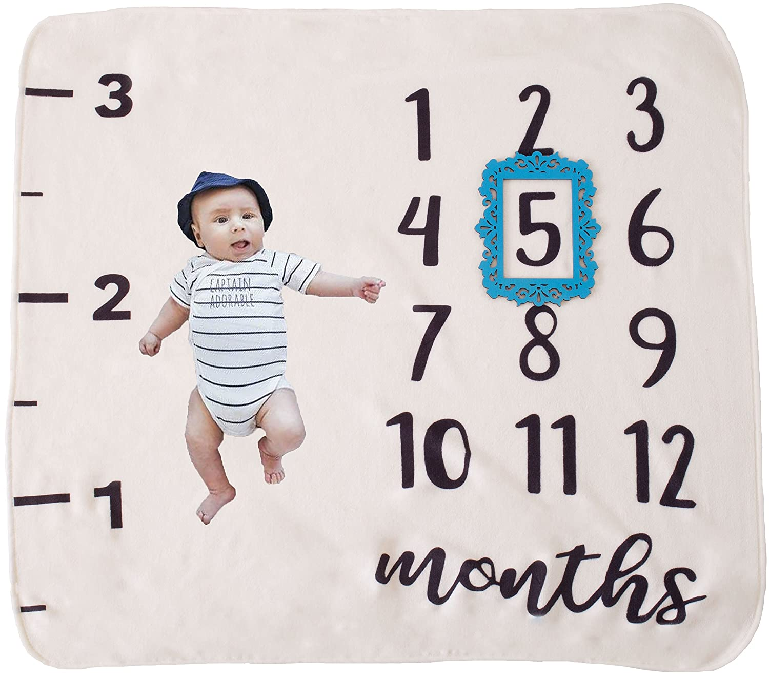 50c549b76 Amazon.com  Monthly Milestone Baby Blanket with Blue or Pink Frame ...