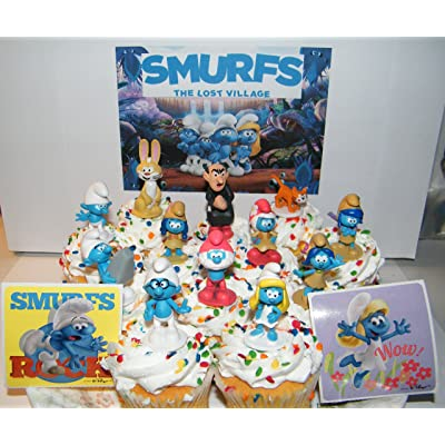 The Lost Village Smurfs Movie Deluxe Cake Toppers Cupcake Decorations Set of 14 with Figures and Stickers Featuring Both Classic and New Smurf Characters Including Bunny Bucky!: Toys & Games