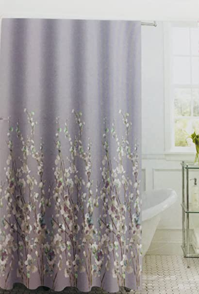 Lily And Gem Orchids On A Stem Levander Fabric Shower Curtain