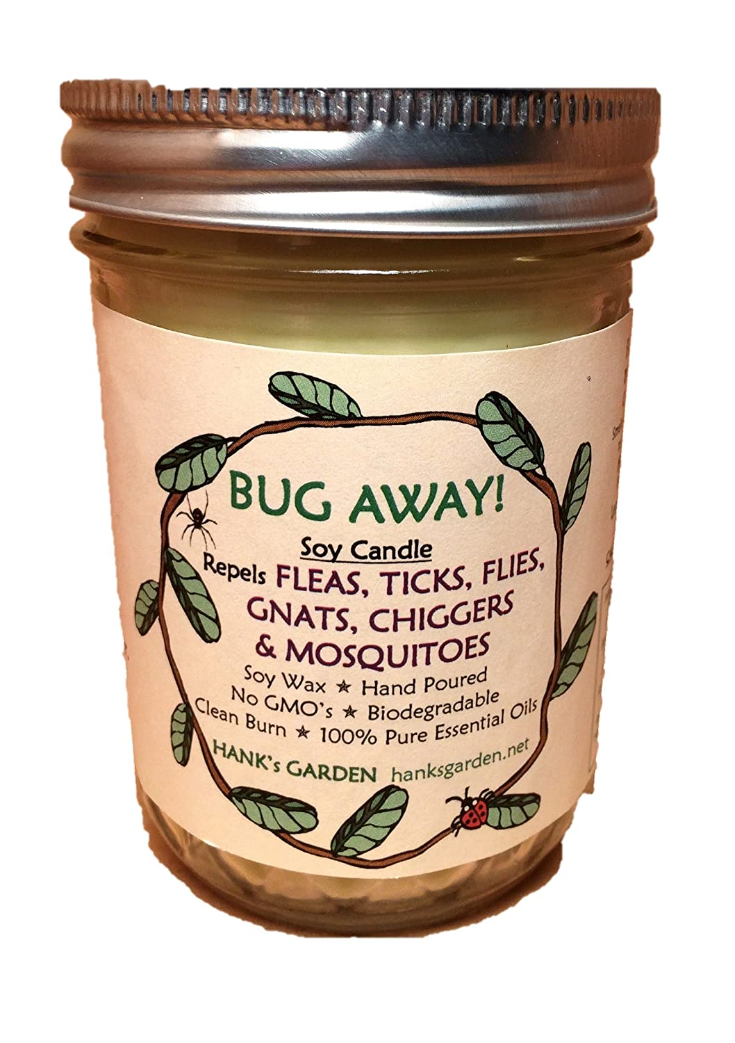 BUG AWAY! Soy Candle - Repels CHIGGERS, GNATS, FLIES, TICKS, MOSQUITOES, FLEAS - Natural Wax, Wicks and Dyes - Non GMO - No DEET - 8 oz / 118.3 ml Jar Hank's Garden