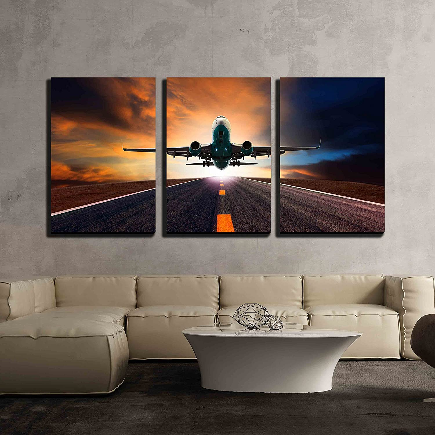 Jet Plane Flying Over Runway Wall Decor X3 Panels Canvas