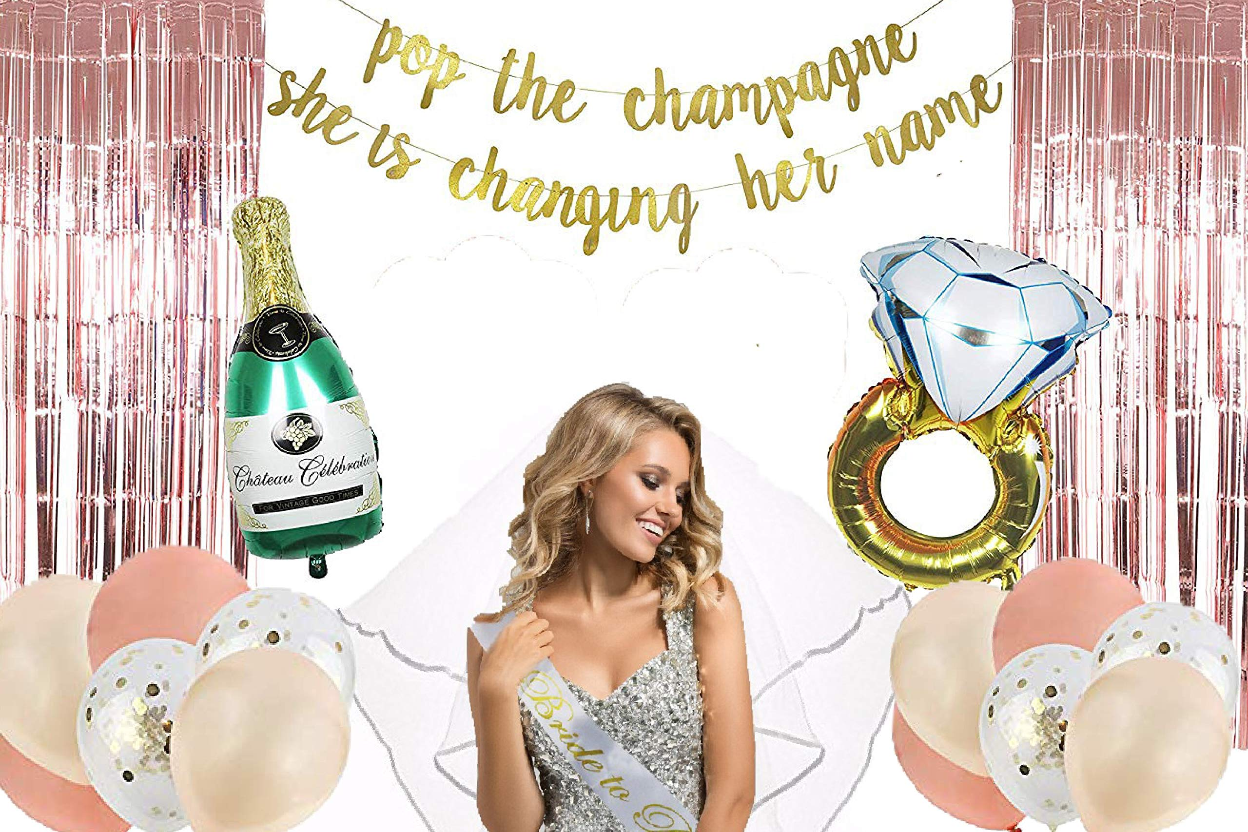 Bachelorette Party Decorations kit - Bridal Shower Supplies - Bride to be Sash, Veil, Foil Fringe Curtain, Champagne, Ring foil, Confetti, Rose Gold Balloons, Gold Glitter Banner, Pop The Champagne