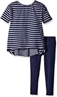 Nautica Girls' Knit Top with Chambray Details and Legging Set