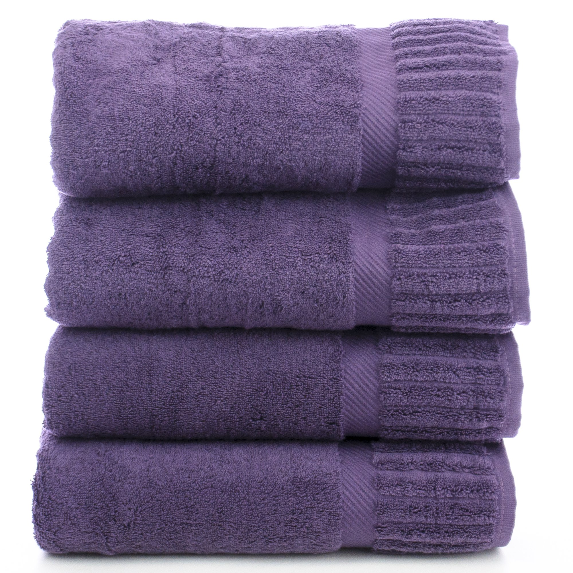 BC BARE COTTON Luxury Hotel & Spa Towel Turkish Cotton Bath Towels - Plum - Piano - Set of 4