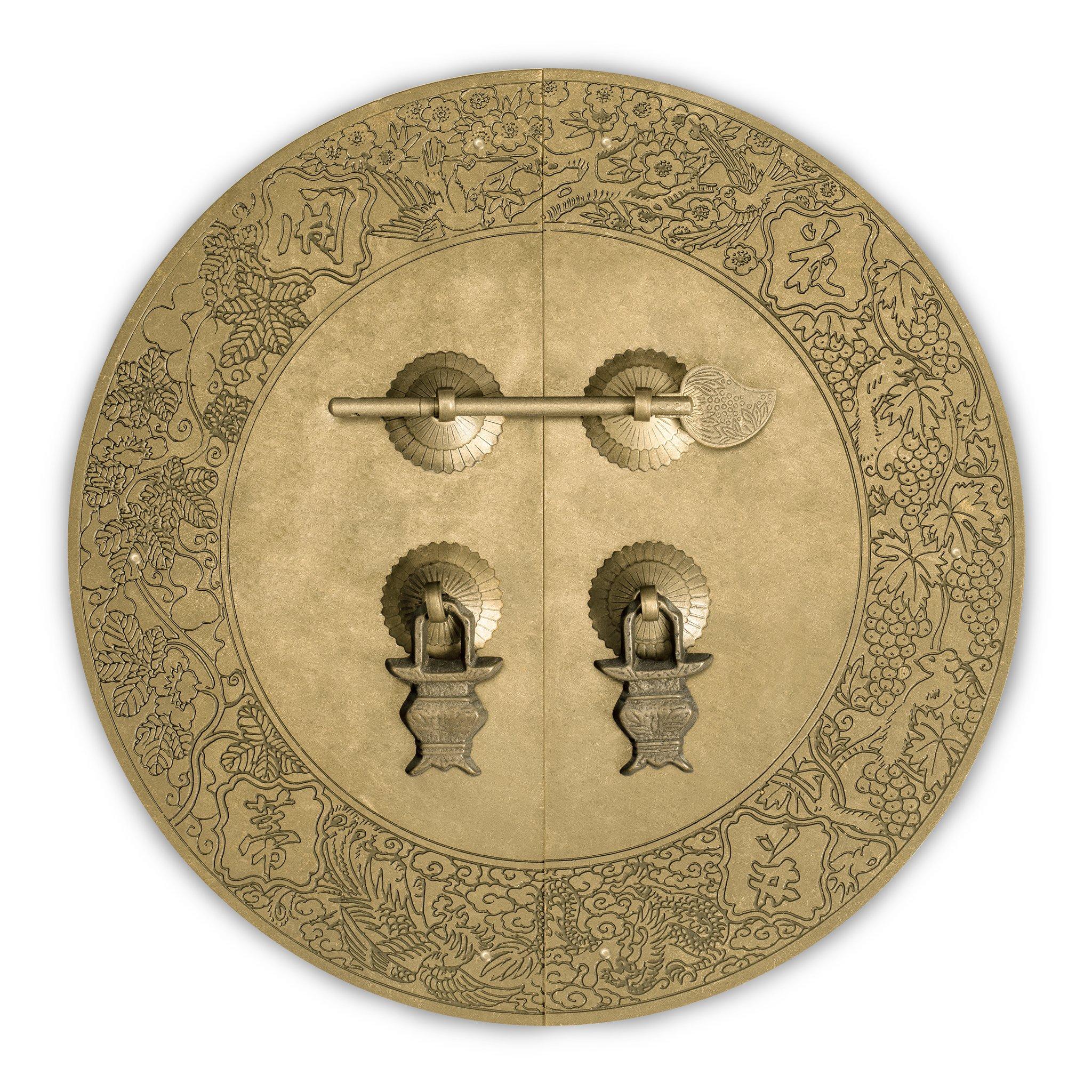CBH Flower Vine Brass Cabinet Face Plate Backplate Hardware Set 9.5''