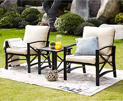 Amazon.com: LOKATSE HOME 3 Piece Patio Conversation Set Outdoor Furniture  With Coffee Table, Chair, Khaki: Garden & Outdoor