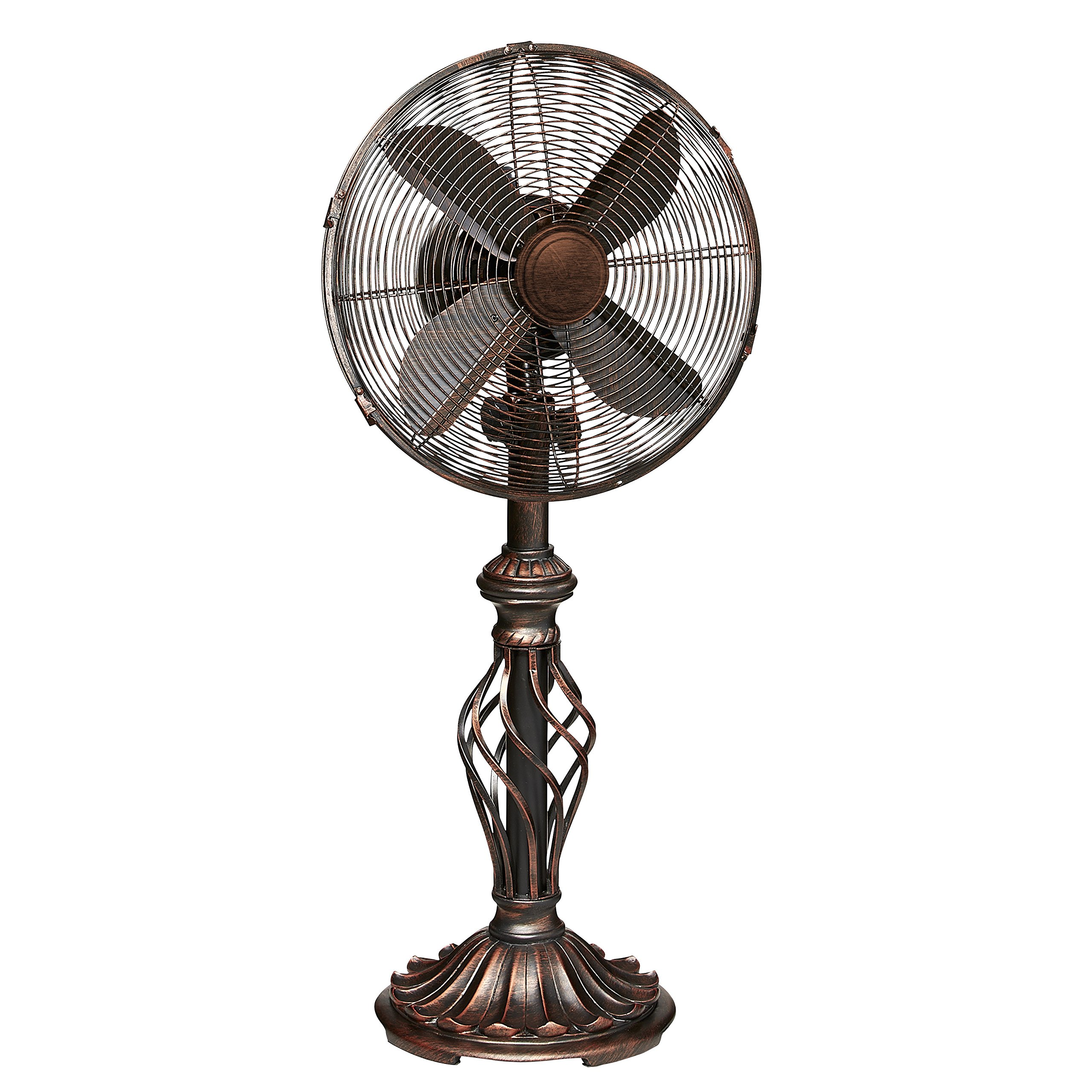 Prestige Rustica Oscillating Pedestal Fan with 3 Speed Made w/ Metal in Brown Finish 30'' H x 12'' W x 4.5'' D in.