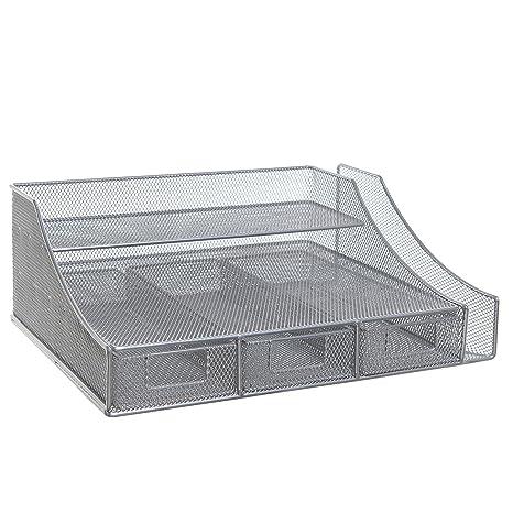 Amazon.com : Silver Wire Mesh Metal Office Desktop Organizer ...