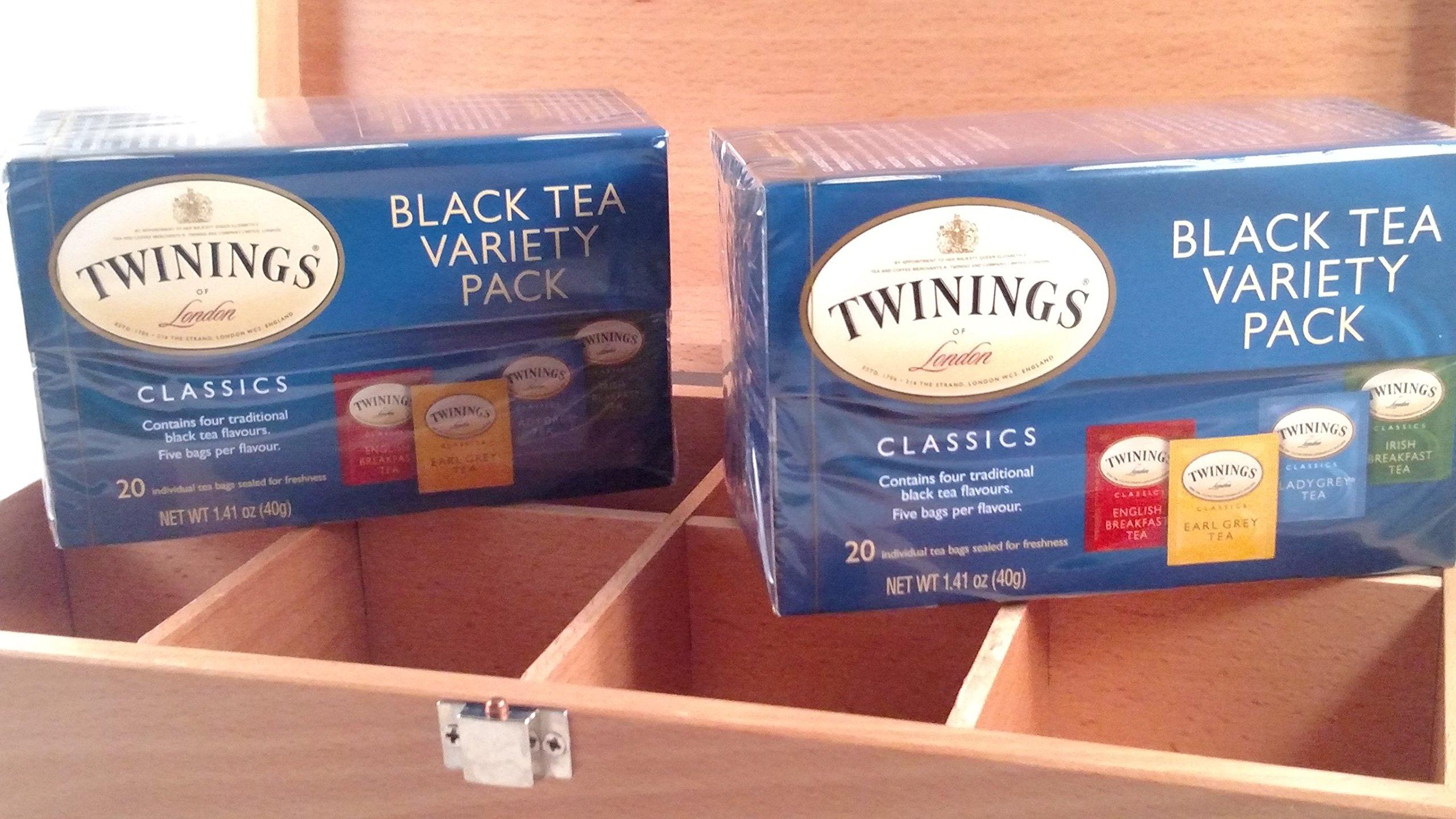 Keepsake Tea Storage Chest with Twinnings Black Tea Variety Pack (40 bags)
