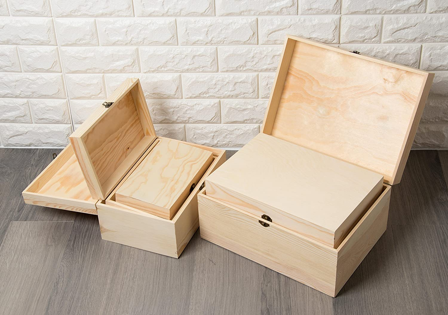 5-Piece Hinged-Lid Nesting Boxes for Arts Crafts Unfinished Wood Hobbies and Home Storage Natural Wood Color Juvale Wooden Boxes