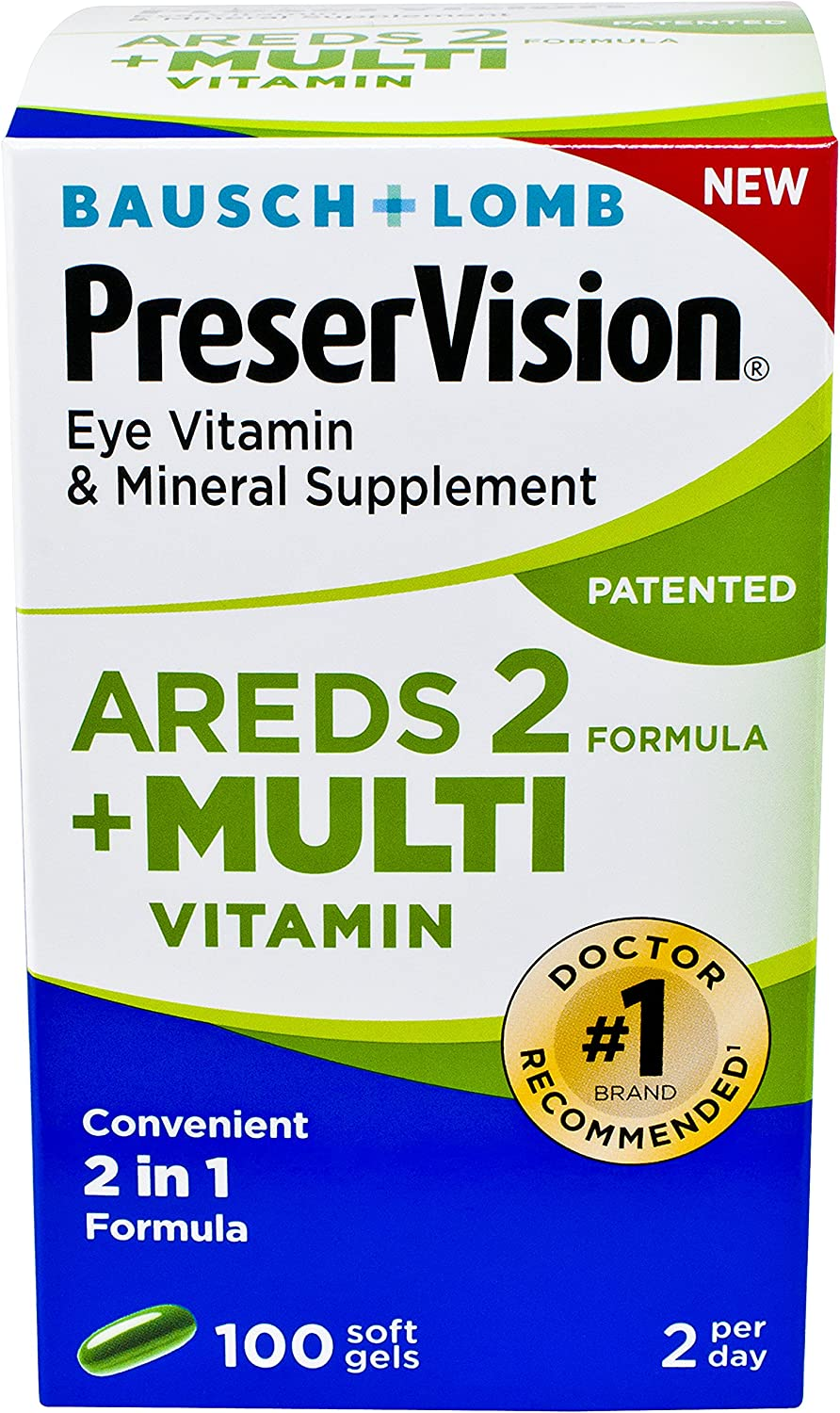 PreserVision AREDS 2 Plus Multivitamin Vitamin and Mineral Supplement, Soft Gels, 100 Count