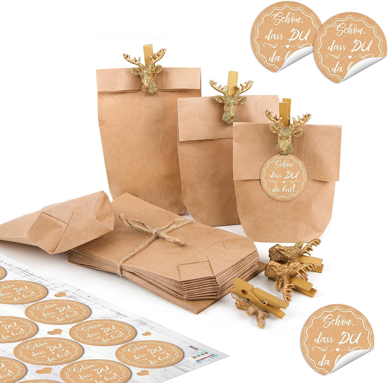 24 Danke Geschenktüten Etiketten braun Tüten Gast Geschenk befüllen rosa
