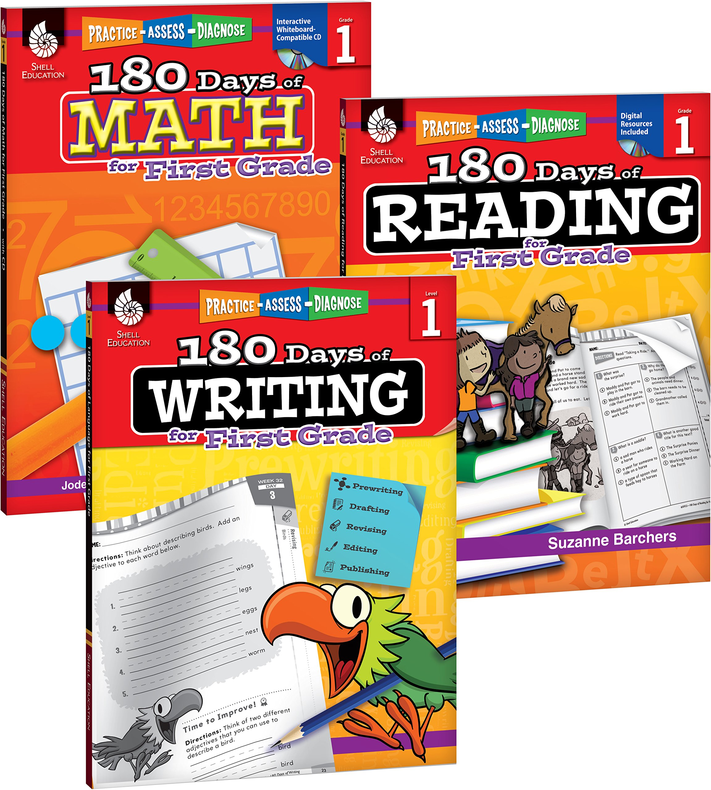 Amazon 180 days of reading writing and math for first grade 3 amazon 180 days of reading writing and math for first grade 3 book set 180 days of practice 9781493825905 teacher created materials fandeluxe Choice Image