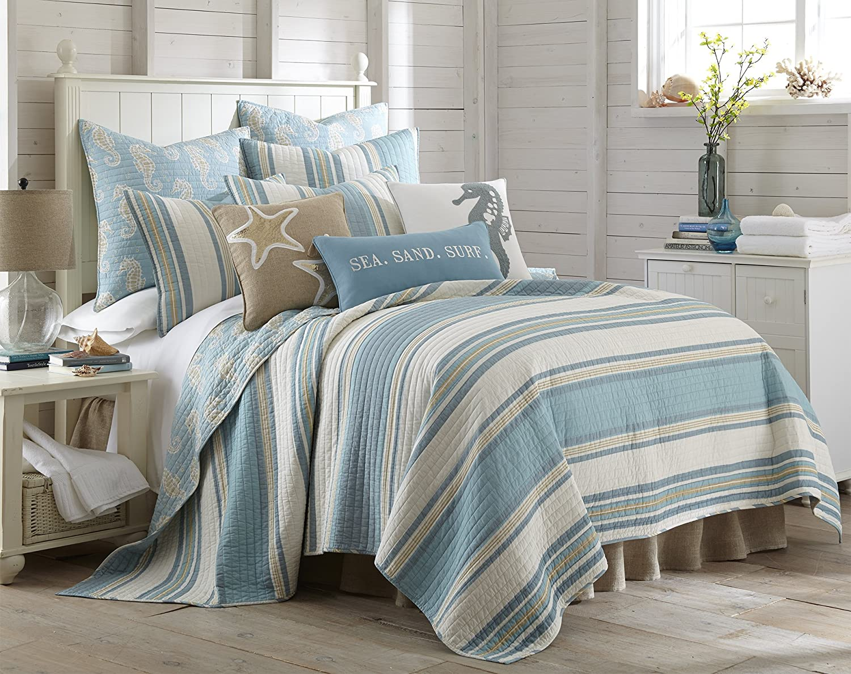 Levtex Home Blue Maui Quilt Set, King Quilt + Two King Pillow Shams, Striped Coastal Design in Light Blue, Cream and Tan, Quilt Size (106 x 92), Pillow Sham Size (36 x 20), Reversible, Cotton