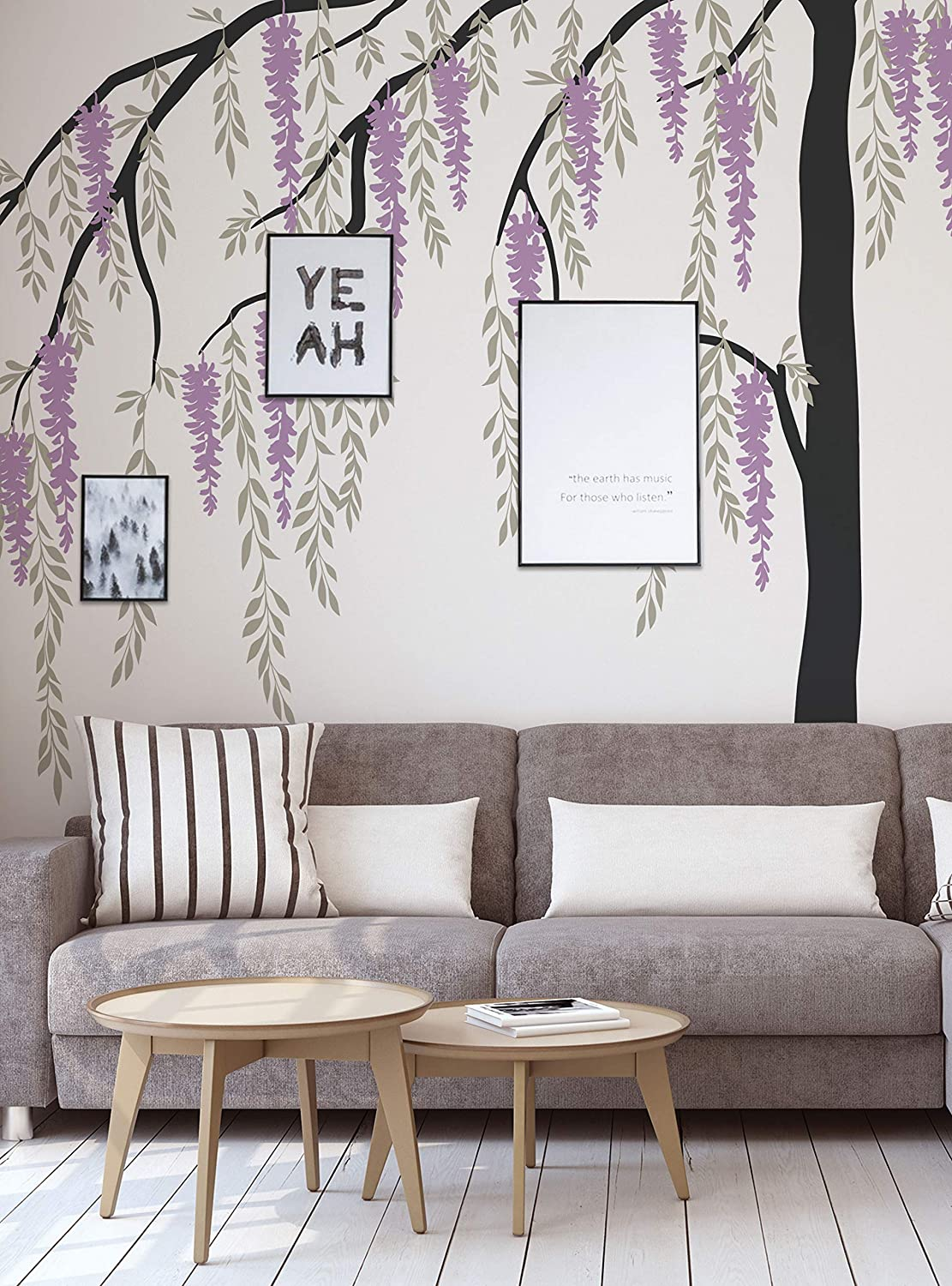 44 wide x 75 tall Purple Flowering Willow Tree Wall Decal