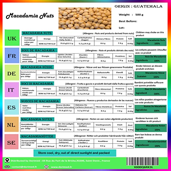 Nueces de Macadamia Enteras   Crudas y Sin Tostar   500g de Macadamia de Origen 100% Natural   Fruto Seco Sin Cáscara   Sin Sal   Libre de ...