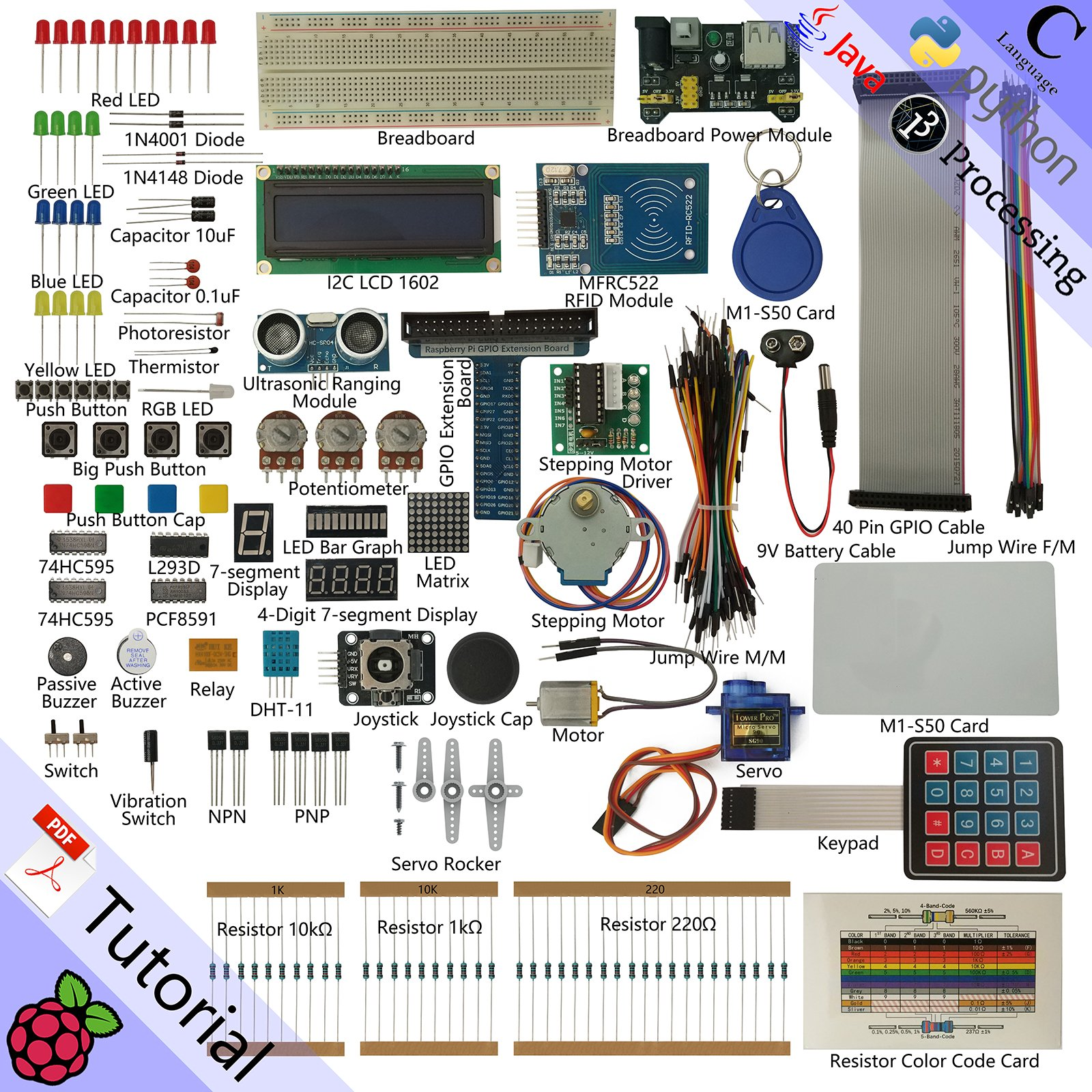 Freenove RFID Starter Kit for Raspberry Pi   Beginner Learning   Model 3B+ 3B 2B 1B+ 1A+ Zero W   Python, C, Java, Processing   53 Projects, 391 Pages Detailed Tutorials, 200+ Components