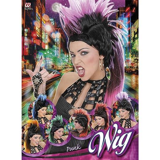 WIDMANN 5940 K - Peluca, Modelo Punk, de colores surtidos: Amazon.es: Juguetes y juegos