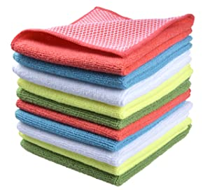 "Sinland 5 color assorted Microfiber Dish Cloth Best Kitchen Cloths Cleaning Cloths With Poly Scour Side 12""x12"" 10 Pack (Pinkx2+bluex2+whitex2+yellowx2+greenx2)"
