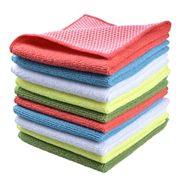 Sinland 5 color assorted Microfiber Dish Cloth Best Kitchen Cloths Cleaning Cloths With Poly Scour Side 12 x12  5 Pack (Pinkx2+bluex2+whitex2+yellowx2+greenx2)