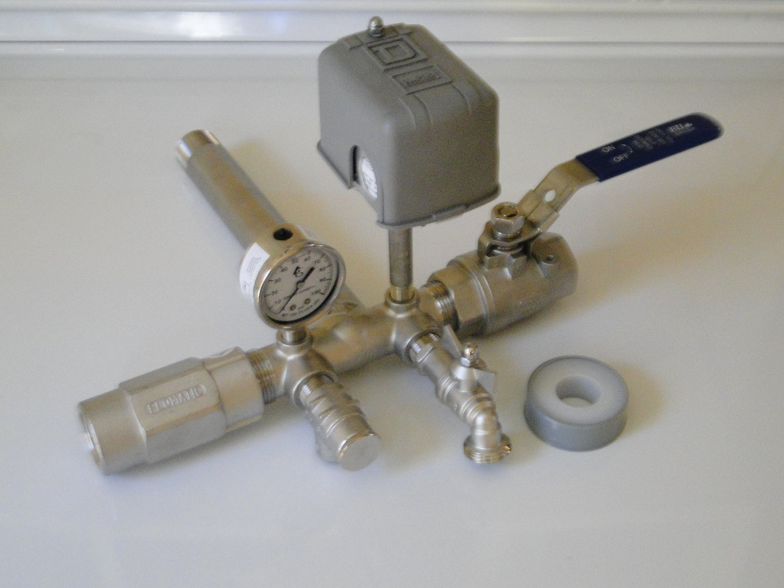STAINLESS STEEL 1 x 11 Tank Tee Kit + VALVES Installation Water Well Pressure Tank with SQUARE D 40/60 FSG2 pressure switch