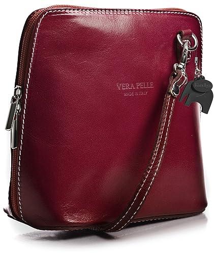 d0cbc37a4d7 Womens Mini Genuine Italian Leather Cross-Body Handbag with a Dust  Protection Bag and Elephant Charm (Dark Red)